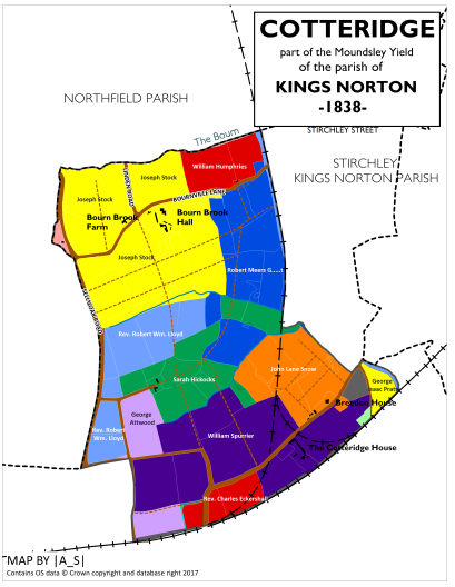 Cotteridge - Land Ownership 1838
