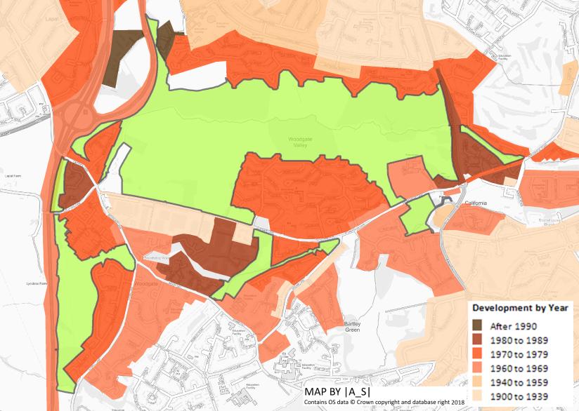 Urban Development around Woodgate Valley 1900 - 2018